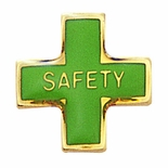 SAFETY CROSS PIN GREEN ENAMEL