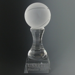 3 X 8 INCH FROSTED CRYSTAL TENNIS BALL ON PEDESTAL TROPHY