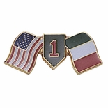 CROSSED AMERICAN AND ITALIAN FLAG  DIVISION ONE PIN