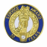 30 YEARS OF SERVICE AWARD PIN WITH SWAROVSKI CRYSTAL