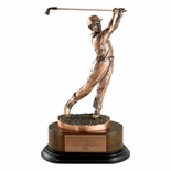 GOLF TROPHY, MALE, 11-1/2  INCH,  ELECTROPLATED IN ANTIQUE BRONZE