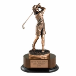 GOLF TROPHY, FEMALE, 12 INCH, ELECTROPLATED IN ANTIQUE BRONZE
