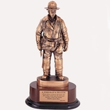 FIREFIGHTER TROPHY WITH PRAYER, 14 INCH, ELECTROPLATED IN ANTIQUE BRONZE