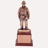 FIREFIGHTER TROPHY,16 INCH, ELECTROPLATED IN ANTIQUE BRONZE