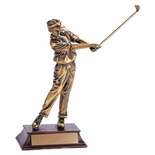 GOLF TROPHY, MALE, 11 INCH, ELECTROPLATED IN ANTIQUE BRASS