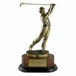 GOLF TROPHY, MALE, 11-1/2 INCH, ELECTROPLATED IN ANTIQUE BRASS