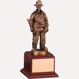 FIREFIGHTER TROPHY, 10 INCH, ELECTROPLATED IN ANTIQUE BRASS
