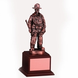 FIREFIGHTER TROPHY, 10 INCH,  ELECTROPLATED IN BRONZE