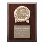 6 X 8 INCH PLAQUE WITH GOLD PLATE, METAL WREATH TAKES INSERT