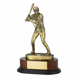BASEBALL TROPHY, 11-3/4 INCH, ELECTROPLATED IN ANTIQUE BRASS