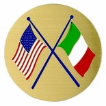 AMERICAN & ITALIAN FLAGS, 2 INCH ETCHED ENAMELED