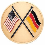 AMERICAN & GERMAN FLAGS, 2 INCH ETCHED ENAMELED
