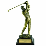 GOLF TROPHY, MALE, 12-1/2 INCH, ELECTROPLATED IN ANTIQUE BRASS