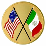 AMERICAN & MEXICAN FLAGS, 2 INCH ETCHED ENAMELED