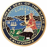 STATE SEAL OF CALIFORNIA, 2 INCH ETCHED ENAMELED