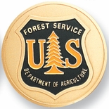 UNITED STATES FOREST SERVICE, 2 INCH ETCHED ENAMELED
