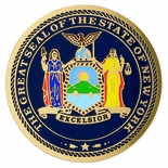 GREAT SEAL OF NEW YORK, 2 INCH ETCHED ENAMELED