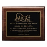 8 X 10 INCH PLAQUE GENUINE WALNUT WITH BLACK SCREENED PLATE