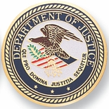 DEPARTMENT OF JUSTICE, 2 INCH ETCHED ENAMELED