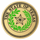 STATE SEAL OF TEXAS, 2 INCH ETCHED ENAMELED