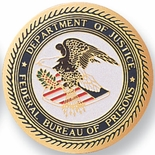 FEDERAL BUREAU OF PRISONS, 2 INCH ETCHED ENAMELED