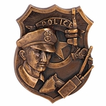 BRASS POLICE PLAQUE MOUNT, 3-1/4X4