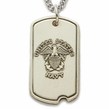U.S. NAVY STERLING SILVER DOG TAG WITH CROSS ON BACK