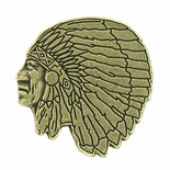 Indian Head Mascot Antique Brass Pin