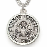 U.S. AIR FORCE STERLING SILVER MILITARY MEDAL, 3/4 INCH, CROSS BACK