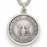 U.S. NAVY STERLING SILVER MILITARY MEDAL, 3/4 INCH, CROSS BACK