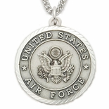 U.S. AIR FORCE STERLING SILVER MILITARY MEDAL,1 INCH, CROSS BACK
