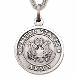 U.S. ARMY STERLING SILVER MILITARY MEDAL, 3/4 INCH, CROSS BACK