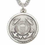 U.S. COAST GUARD STERLING SILVER MILITARY MEDAL,1 INCH, CROSS BACK