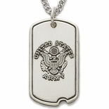 U.S. ARMY STERLING SILVER DOG TAG WITH CROSS ON BACK