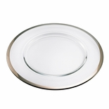 12-1/2 INCH CLEAR GLASS TRAY WITH PLATINUM BAND