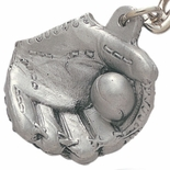 BASEBALL GLOVE PEWTER KEY CHAIN