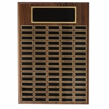 20 X 26 INCH MULTIPLE PLATE WALNUT VENEER PLAQUE WITH 120 BLACK SCREENED PLATES