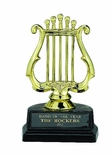 MUSIC LYRE TROPHY, 5 INCH, BLACK MARBLE BASE