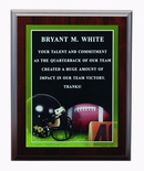 9 X 12 INCH FOOTBALL  PHOTO SPORTS PLAQUE WITH LASER ENGRAVED PLATE