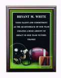 6 X 8 INCH FOOTBALL PHOTO SPORTS PLAQUE WITH LASER ENGRAVED PLATE