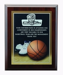 9 X 12 INCH BASKETBALL PHOTO SPORTS PLAQUE WITH LASER ENGRAVED PLATE