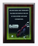 9 X 12 INCH GOLF  PHOTO SPORTS PLAQUE WITH LASER ENGRAVED PLATE