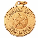1-1/4 INCH MEDAL OF EXCELLENCE, GOLD