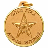 1-1/4 INCH GOLD STAR AWARD MEDAL