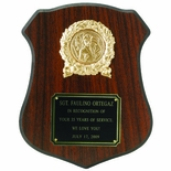 7-1/2 X 9-1/2 INCH WALNUT FINISH SHIELD PLAQUE, TAKES 2 INCH INSERT