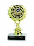 WREATH TROPHY, 5-1/2 INCH, WHITE PLASTIC BASE,  2 INCH INSERT