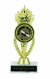 TORCH TROPHY, 7-1/4 INCH, WHITE PLASTIC BASE,  2 INCH INSERT