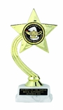 GOLD STAR TROPHY, 8 INCH, WHITE MARBLE BASE, 2 INCH INSERT