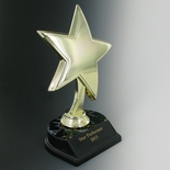 STAR TROPHY, 8 INCH HEIGHT, BLACK AND GOLD BASE, BLACK PLATE