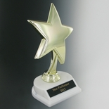 STAR TROPHY, 8 INCH HEIGHT, WHITE BASE, BLACK PLATE